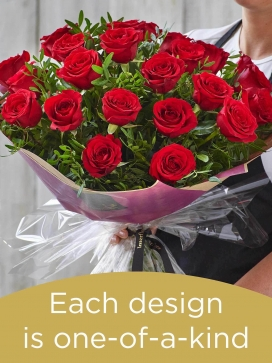 Valentine's 24 red rose hand-tied made with premium roses