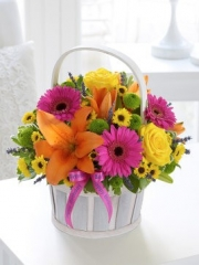 Happy Birthday Vibrant Basket arrangement